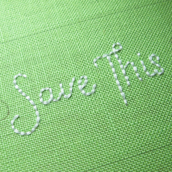 backstitch foundation for embroidered lettering