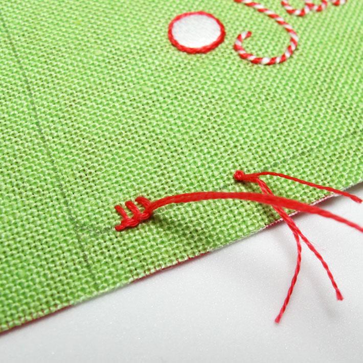 stitch towards the waste knot