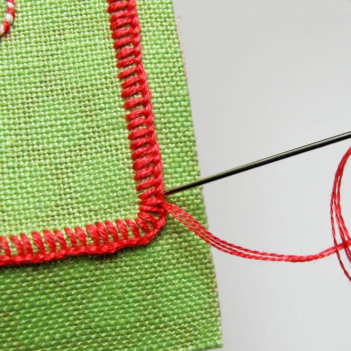 finishing the edge of buttonhole stitches