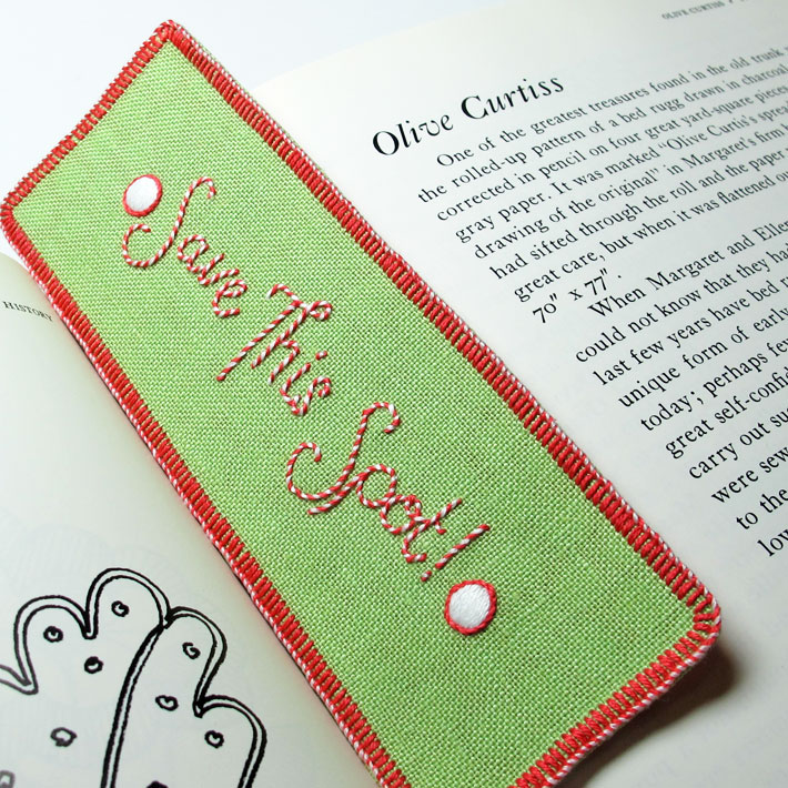 Completed hand-embroidered bookmark