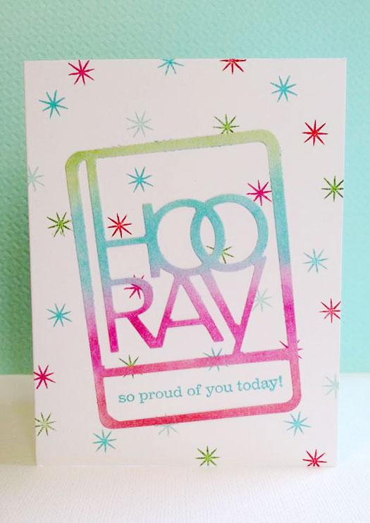 Inked Gradient Hooray Handmade Card
