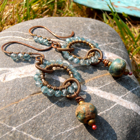 Turquoise earrings with embellished earwires using tiny beads slid onto the binding wire.