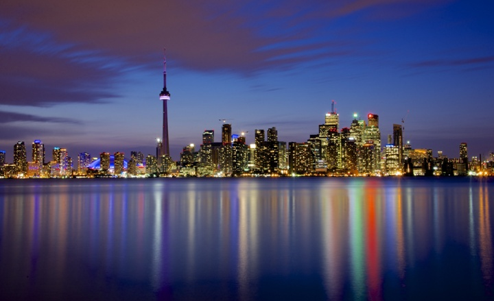 Toronto cityscape during blue hour