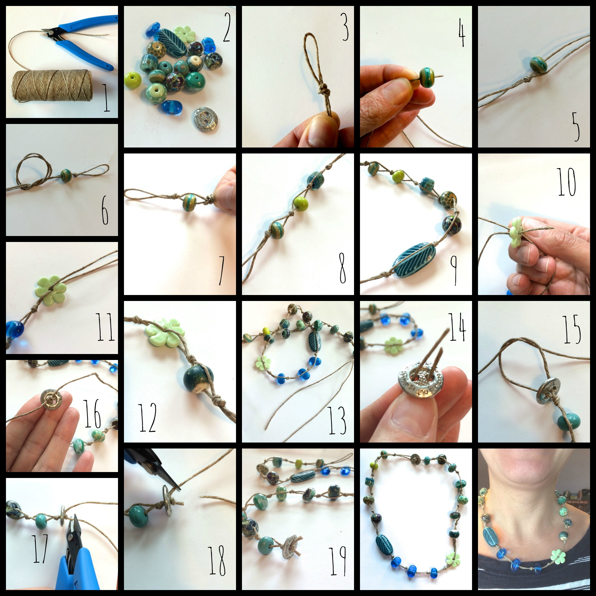 Knotted necklace collage
