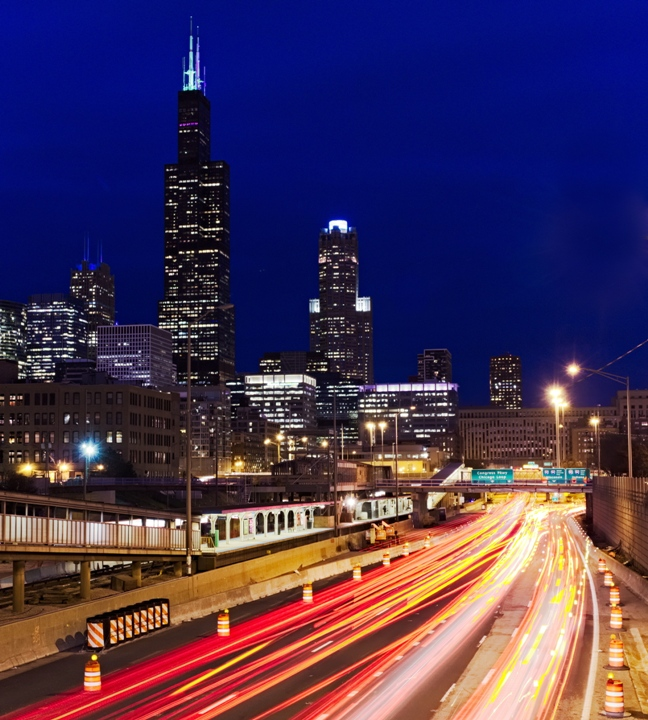 Chicago Traffic During Blue Hour