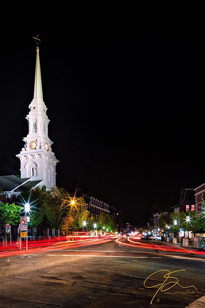 long exposure photo of market square at night