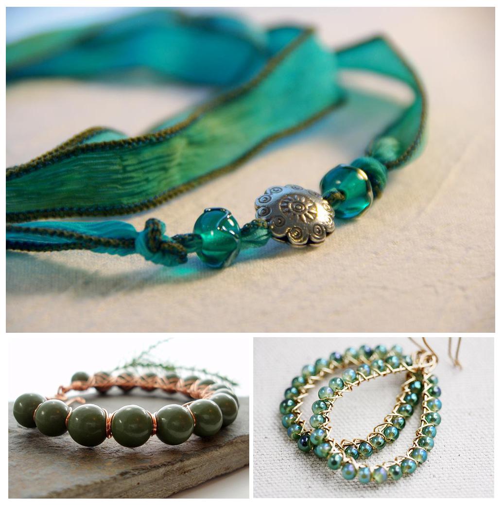 Linear - Green Stone Jewelry