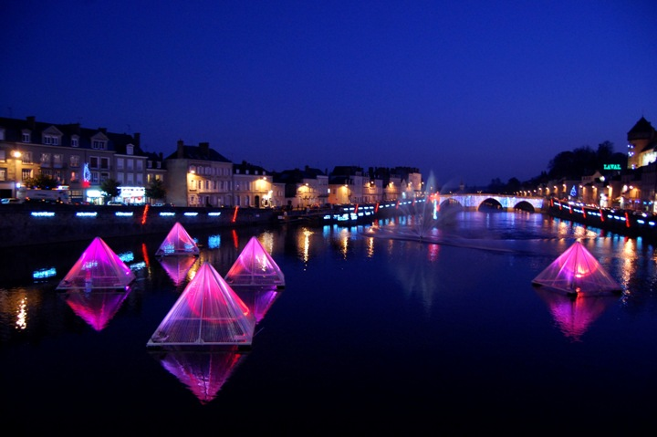 Floating Pyramids at Blue Hour