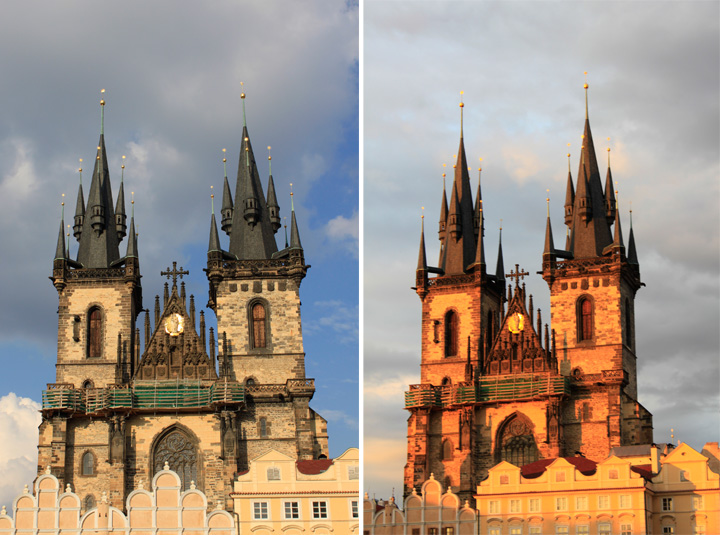 golden hour photography, golden hour, Tyn Church, Prague, Czech Republic, lighting, compare lighting