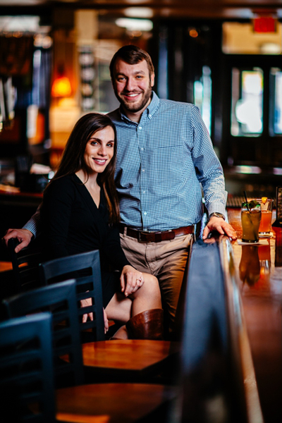 photo of a couple at a bar taken using two lights