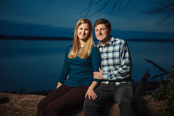 photo of a couple taken with one speed light and an umbrella