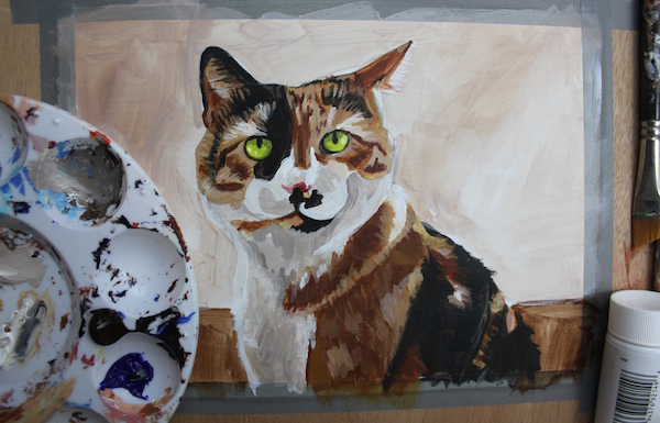 Painting animal in acrylic - almost finished