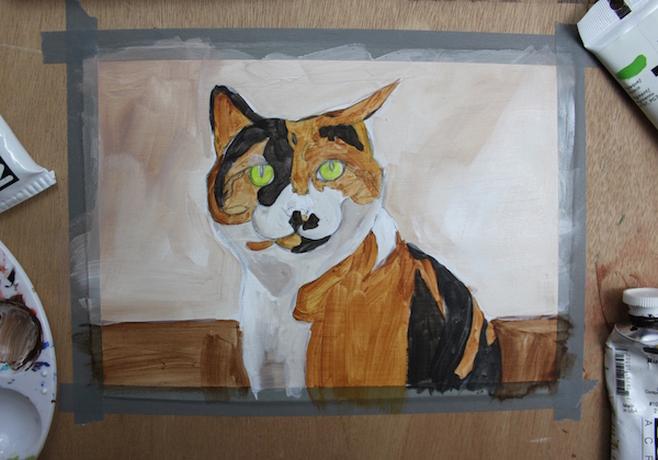 Painting animal in acrylic - layer 1