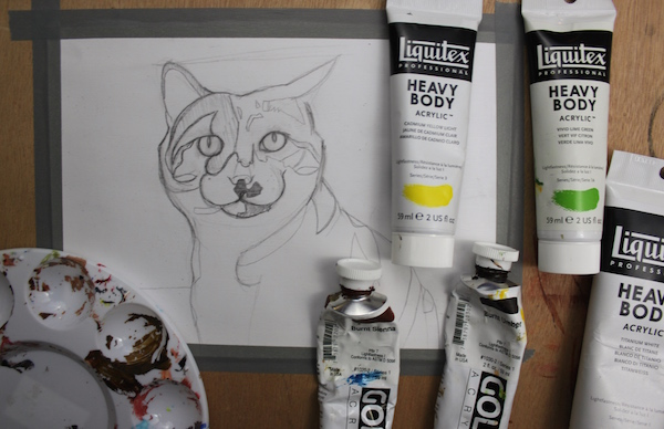 Painting animal in acrylic - sketch