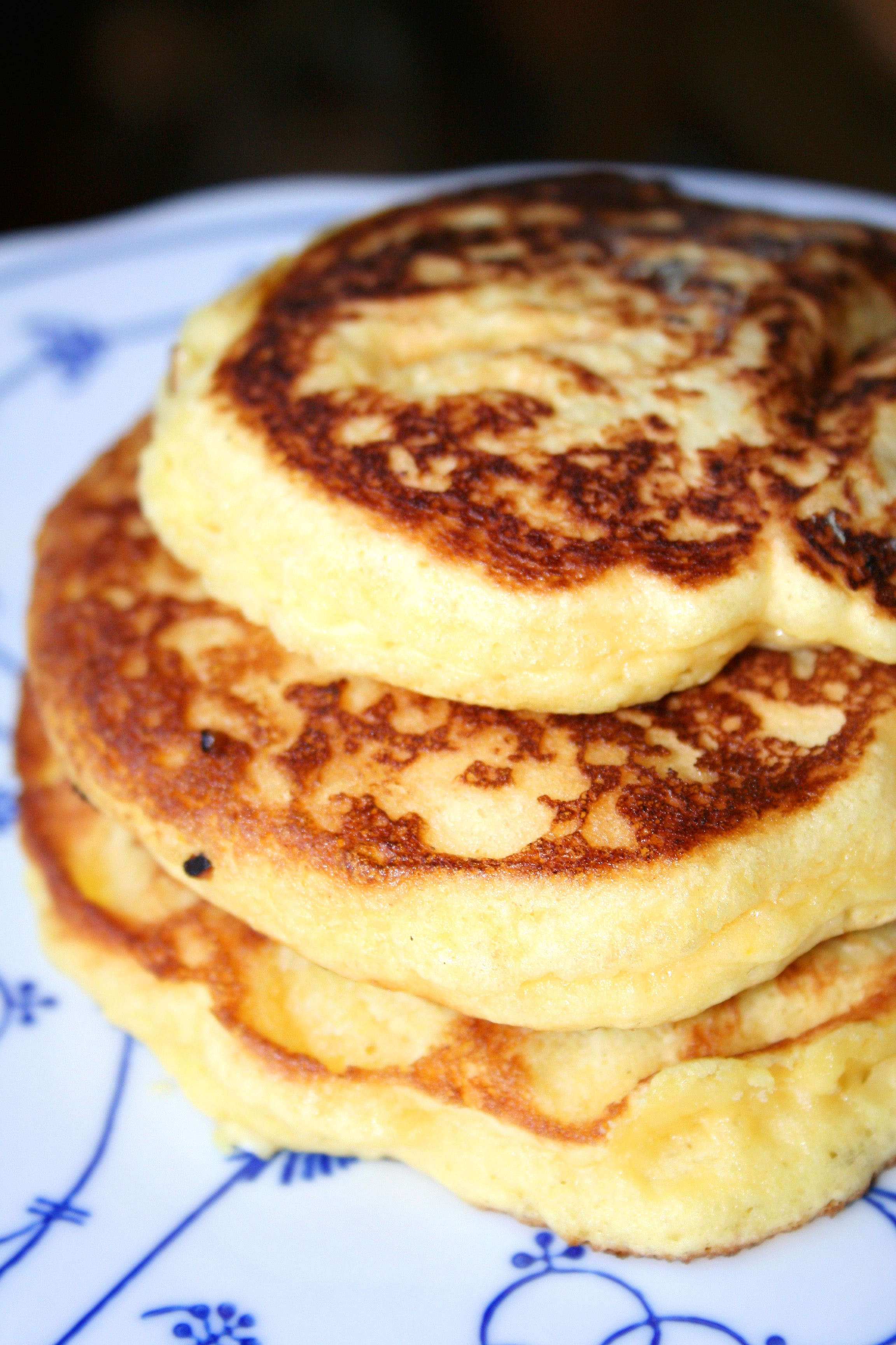 Finished pancakes in a stack