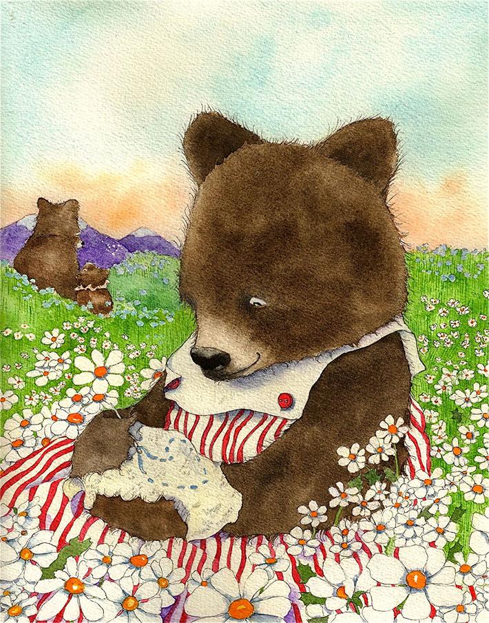 Bear sewing in field of flowers