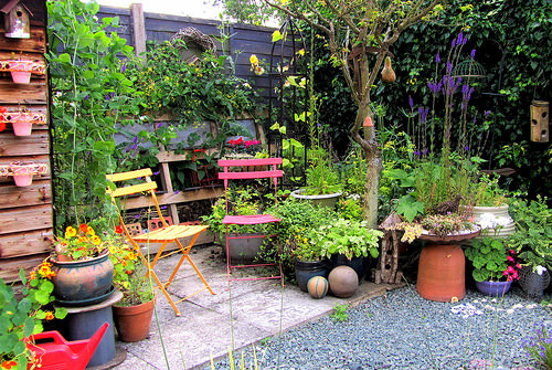 Patio filled with container gardens