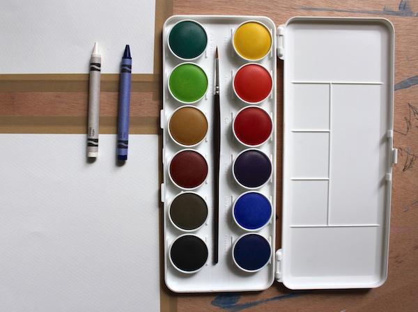 watercolor crayon supplies