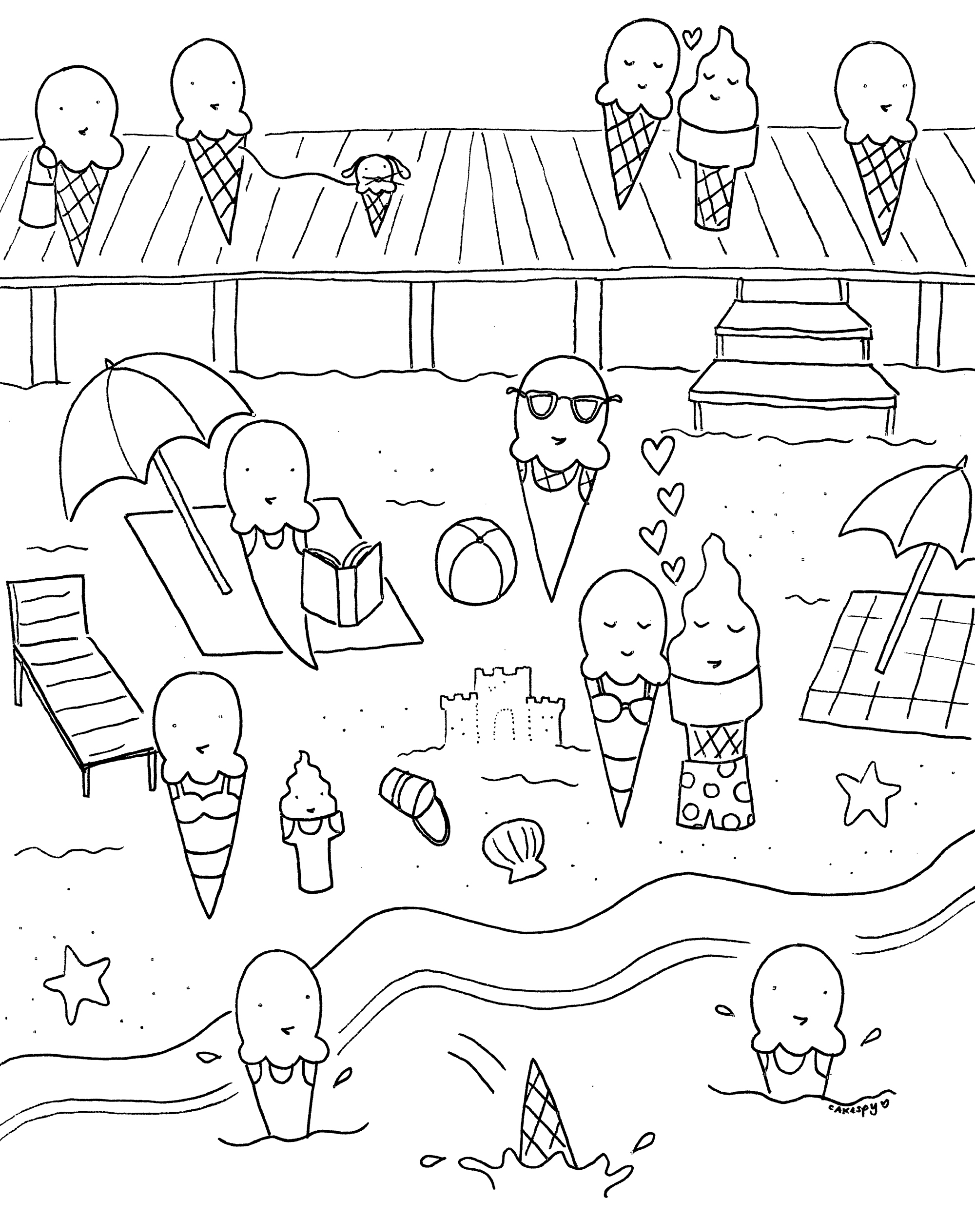 Ice cream at the shore coloring book page