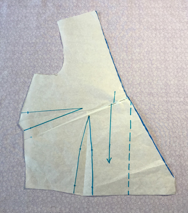 pleat created in neckline