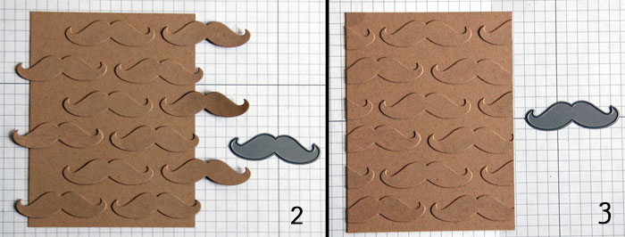 Steps 2 and 3 Faux Embossing - Adhere shapes then trim
