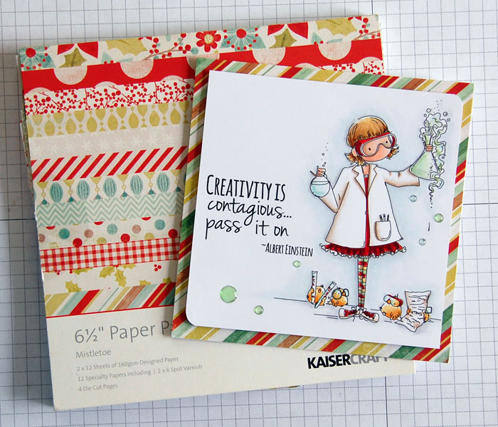 Sample of Christmas patterned paper used on non-holiday card