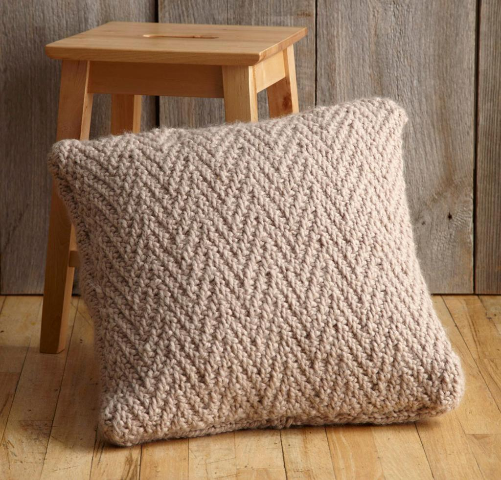 Herringbone Stitch Pillow Knitting Pattern
