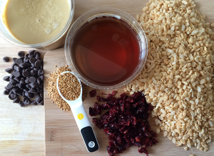 Make healthy Rice Krispie treats by adding cranberries, flaxseed and dark chocolate