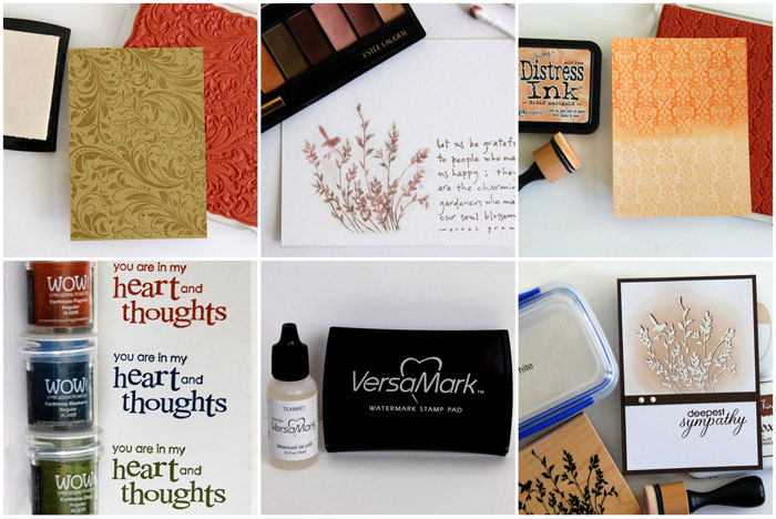 Collage of samples made with VersaMark ink