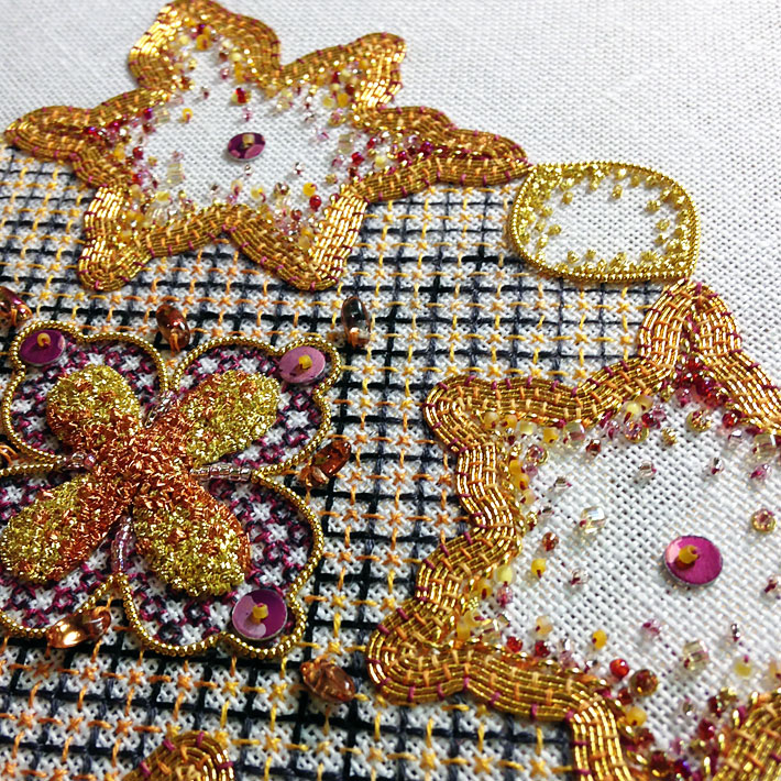 An example of blackwork embroidery enhanced with goldwork and beads by Jen Goodwin