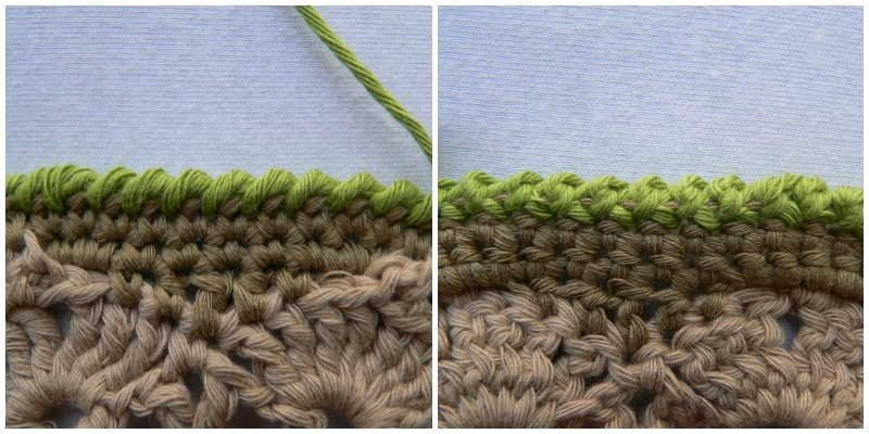 The crab stitch is a simple, sturdy edging