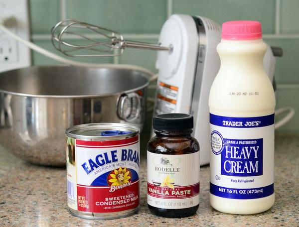 Sweetened condensed milk, heavy cream and vanilla extract.