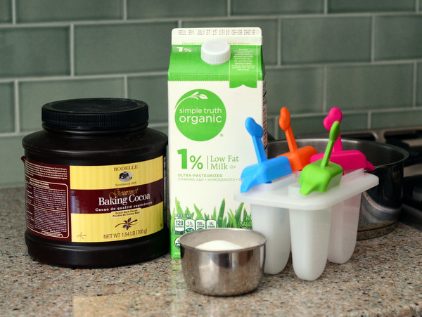 Ingredients for chocolate ice pops