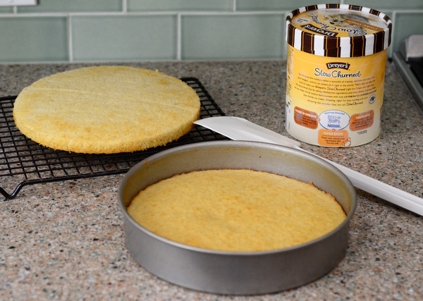 Bake two cake layers