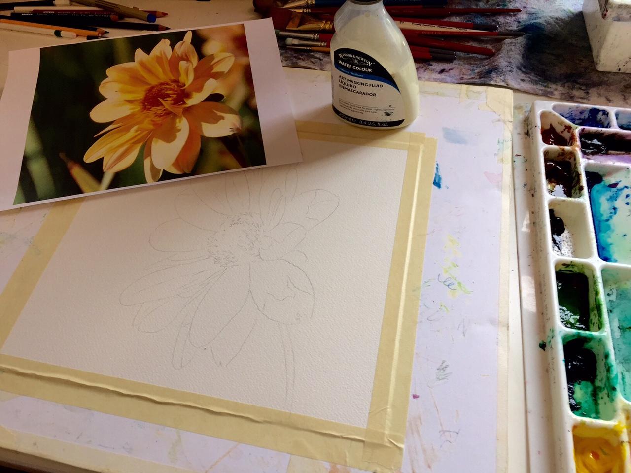 Pencil sketch of flower