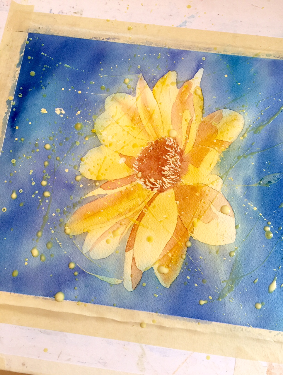 Watercolor and masking fluid second application
