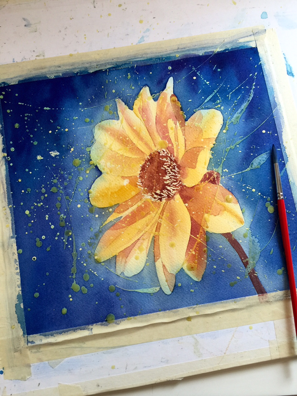 Watercolor and masking fluid third application