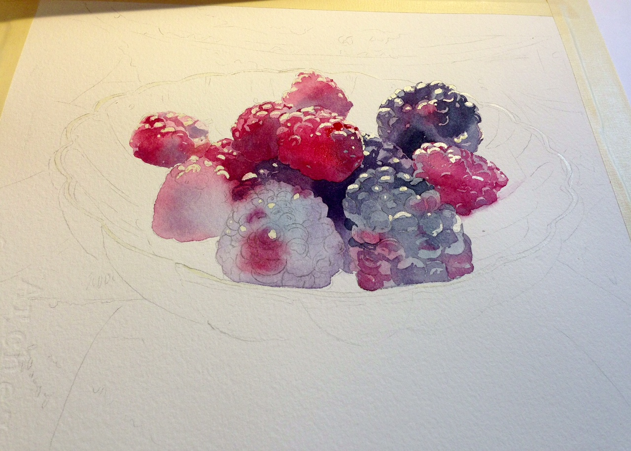 First wash of a realistic watercolor still life