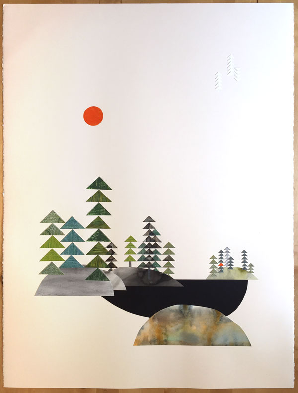 The completed cut-paper landscape drawing