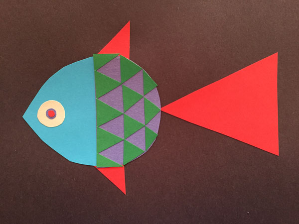 Cut-paper drawing of a fish