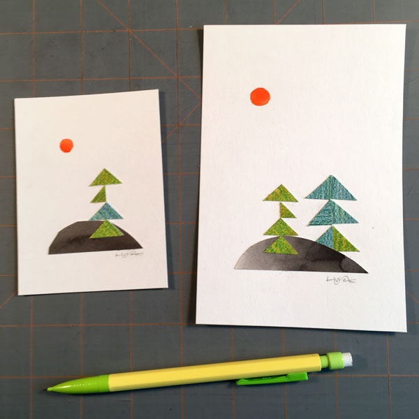 Cut-paper compositions of trees on islands