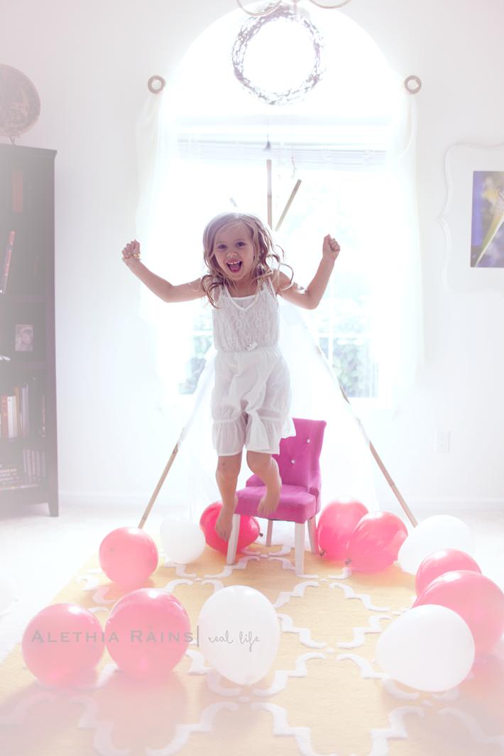 smiling girl jumping