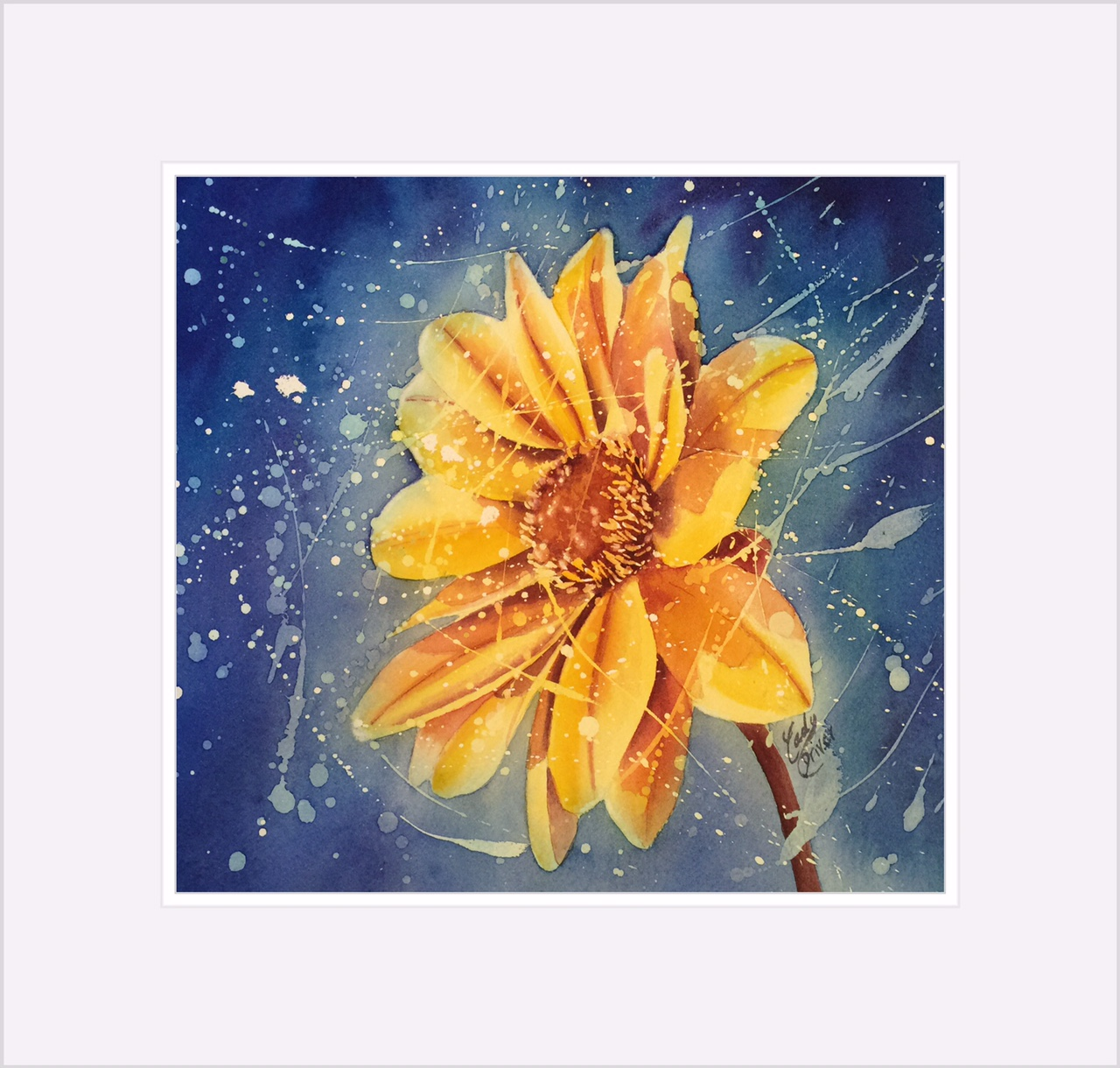Completed watercolor paining - Floral Resist 3