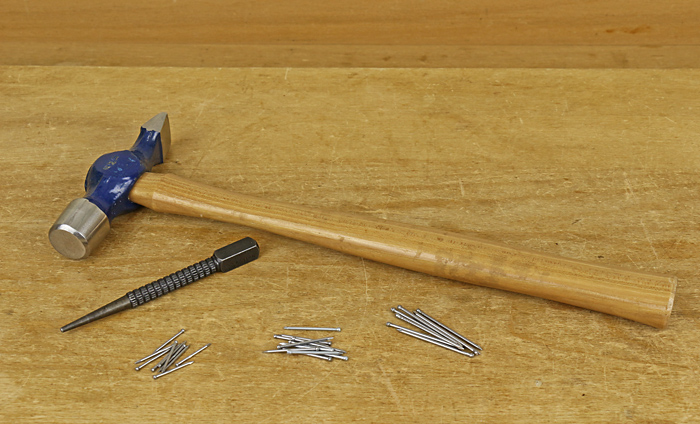 brads, hammer, nail set