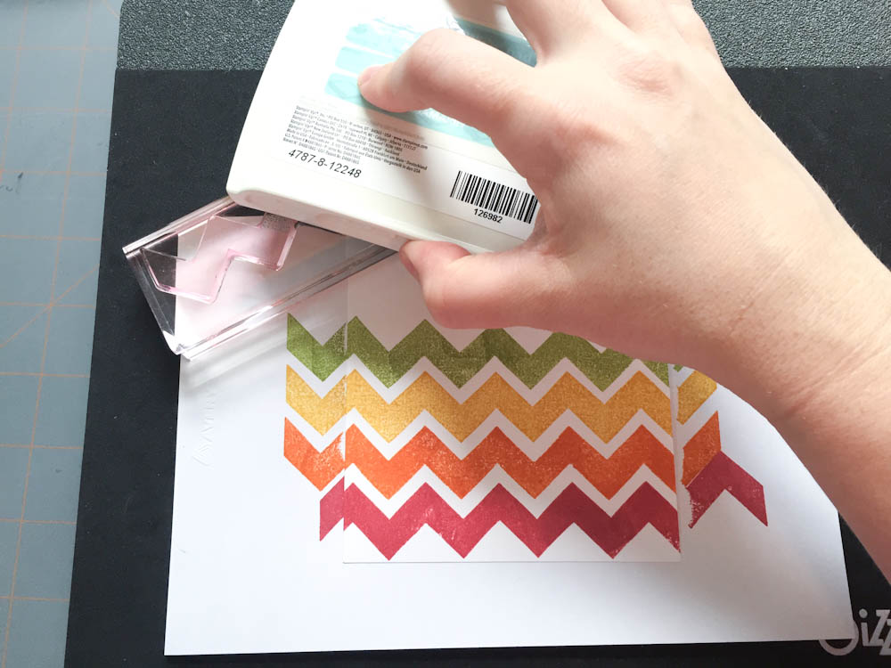 Stamping a rainbow background