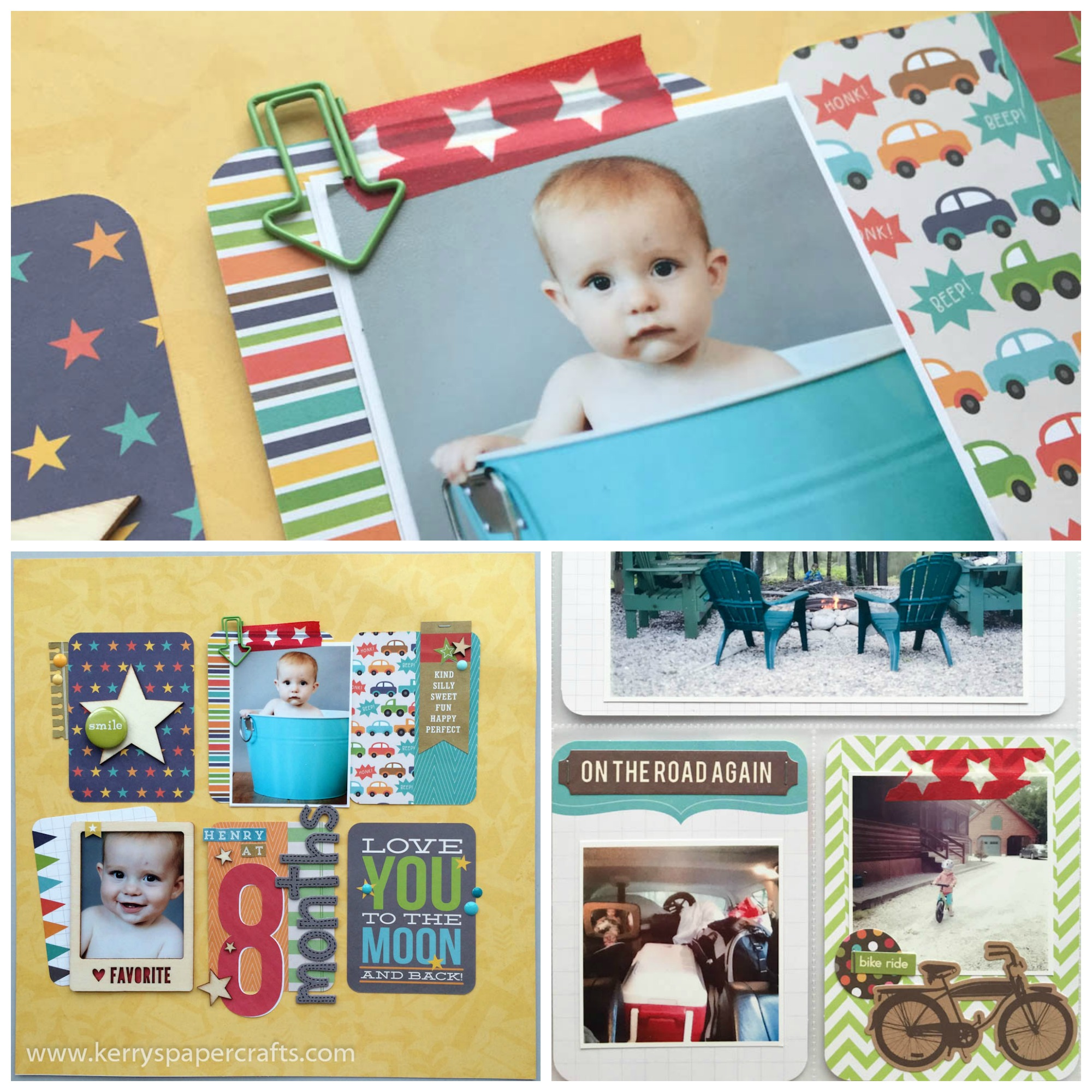 use washi to tape photos to scrabpook layout
