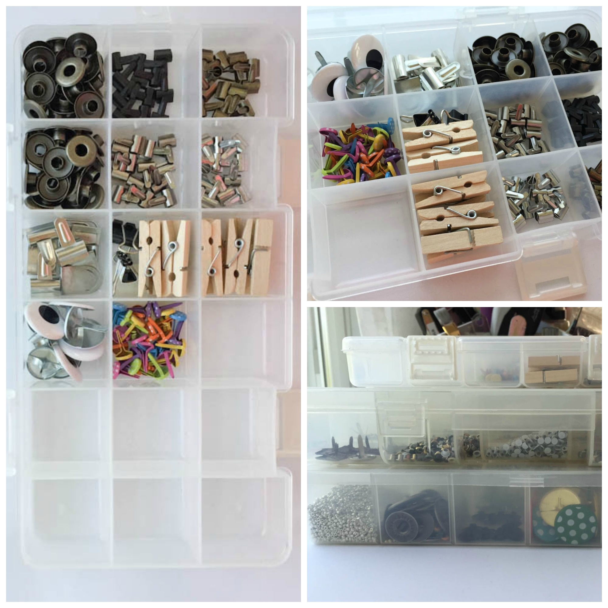 crafts supplies organized in plastic boxes