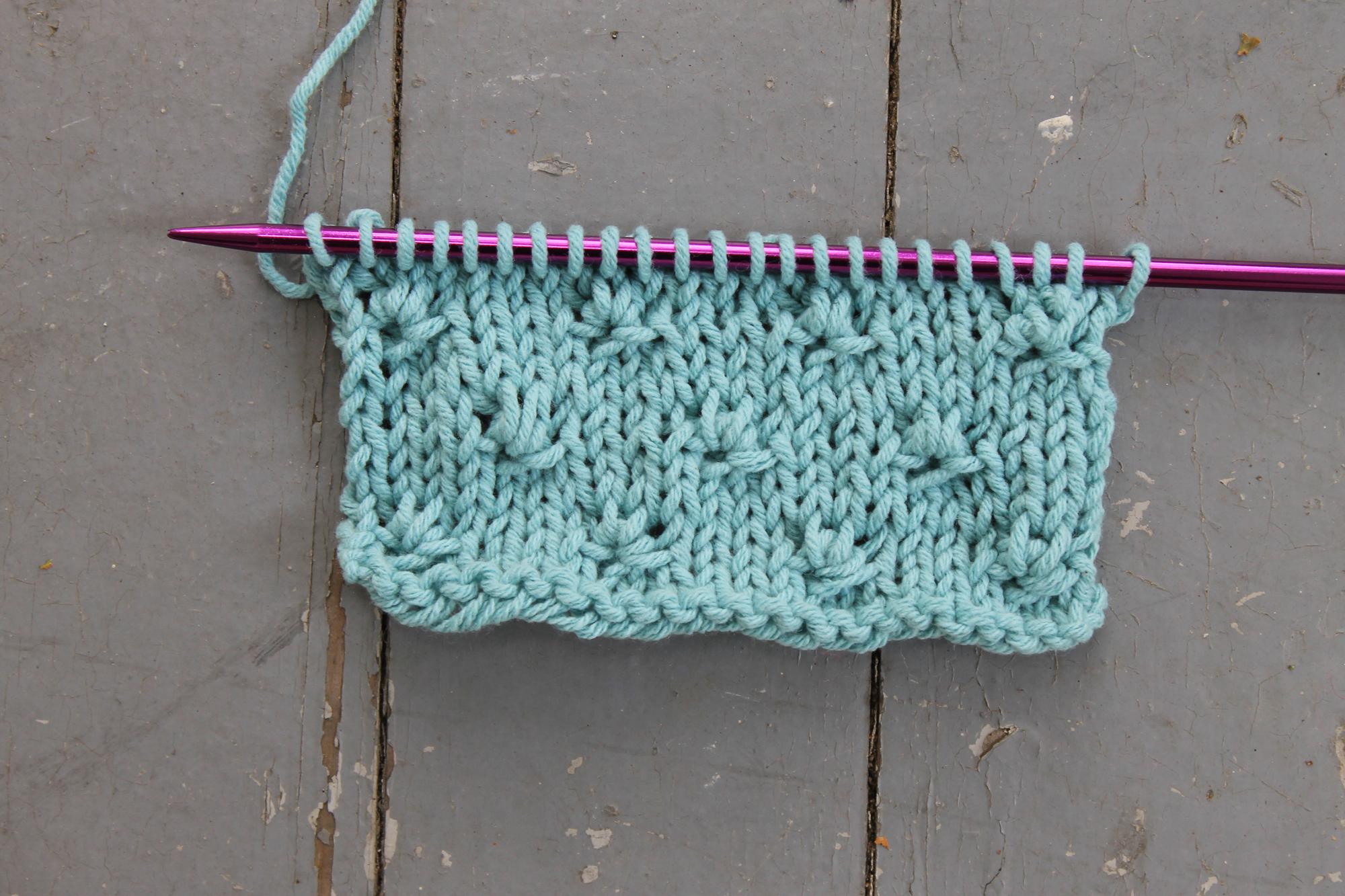Knot Stitch Knitting Swatch