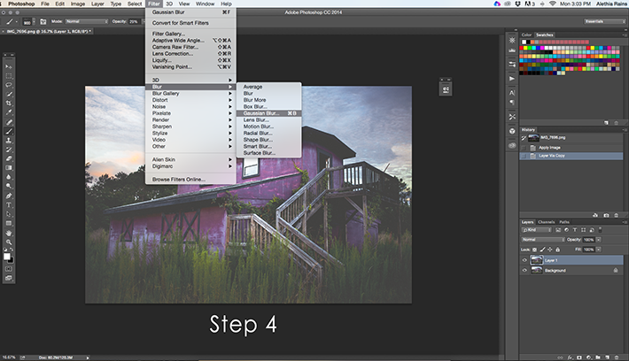 barn image in photoshop selecting gaussian blur