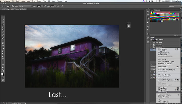 flattening the barn image in photoshop